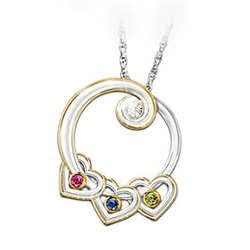 Lineage of Love Diamond and Birthstone Pendant Necklace