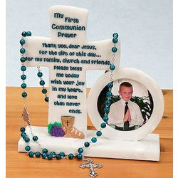 First Communion Photo Frame and Rosary Holder