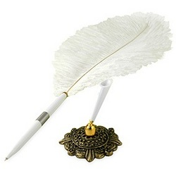 White Plume Pen with Gold Stand