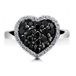 Sterling Silver Black Cubic Zirconia Flat Heart Ring