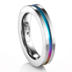Titanium Stackable Rainbow Groove Ring
