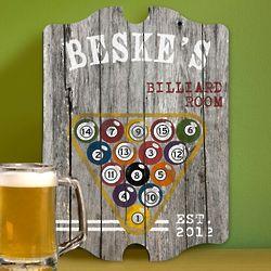 Personalized Billiards Man Cave Vintage Pub Sign