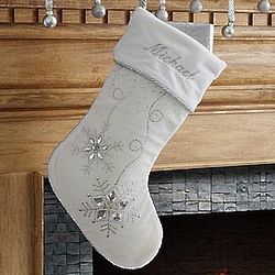 Personalized White Christmas Stocking