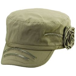 Cadet Hat with Flower and Zipper Accent
