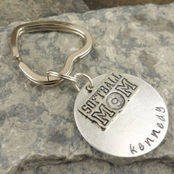 Softball Mom Personalized Hand-Stamped Keychain