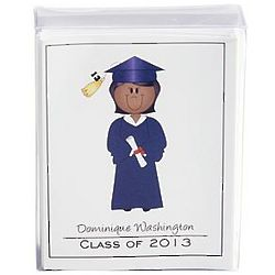 Navy Gown Graduate Character Note Cards