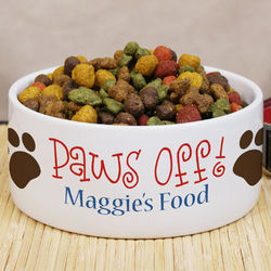 Paws Off Personalized Ceramic Dog Bowl