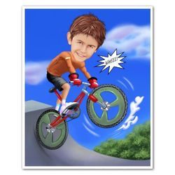 BMX Rider Custom Caricature Art Print