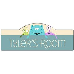 Boy's Room Monsters Personalized Door Sign