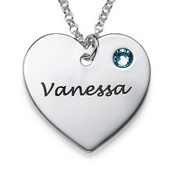 Personalized Heart Necklace with Swarovski Crystal