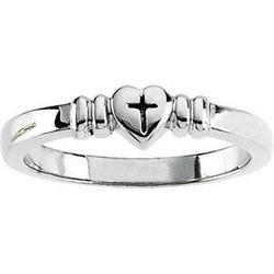 Heart with Cross Sterling Silver Chastity Ring