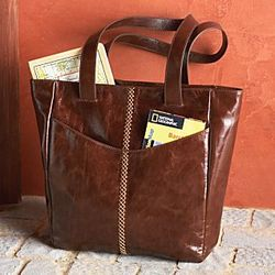 Lightweight Leather Travel Tote