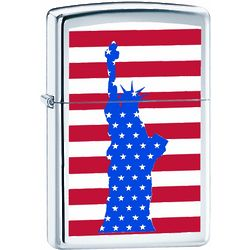 Red, White & Blue Statue of Liberty High Polish Chrome Lighter