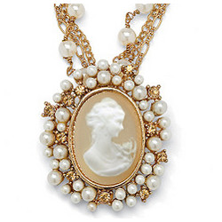 Cameo Pendant on Multichain Necklace