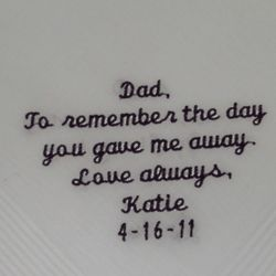 To Remember the Day Personalized Hanky for Dad