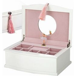 White Wood Ballerina Jewelry Box