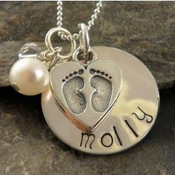 Footprint Heart Personalized Hand Stamped Necklace