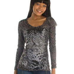 Tattoo Leopard Long Sleeve Hooded Tissue Top in Charcoal/Black