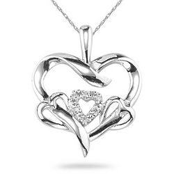 14K White Gold Triple Heart Diamond Pendant