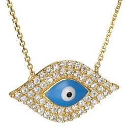 Cubic Ziconia and Blue Enamel Evil Eye Necklace