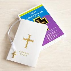 Personalized White First Communion Bible