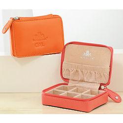 Personalized Leather Mini Zip-Around Jewelry Case