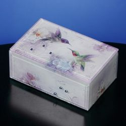 Glass Orchid and Hummingbird Musical Jewelry Box