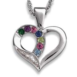 Platinum Plated Mother's Birthstone Heart Necklace
