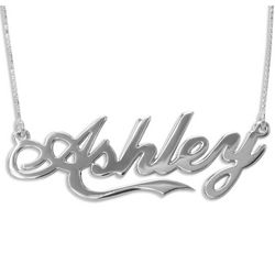 Personalized 14K White Gold Coca Cola Font Name Necklace