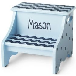 Blue Chevron Hand-Painted Step Stool