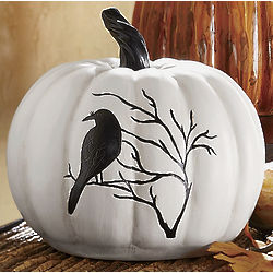 White Pumpkin with Black Bird Design