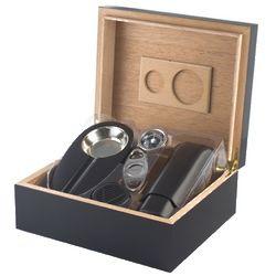 Black Humidor, Cigar Cutter, and Ashtray Gift Set