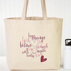 Personalized Hope and Courage Breast Cancer Awareness Tote Bag