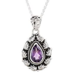 Dazzling Flames Amethyst Pendant Necklace