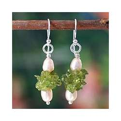 Pearl and Peridot Earrings - Strawberry Lime