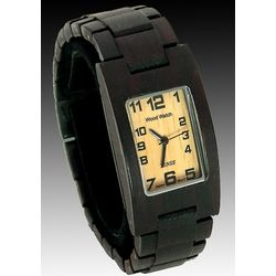 Rectangular Face Ebony Sandalwood Watch