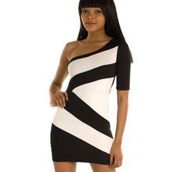 Black and White Mod Color Blocked One Shoulder Cocktail Dress