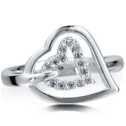 Sterling Silver Cubic Zirconia Open Heart Ring