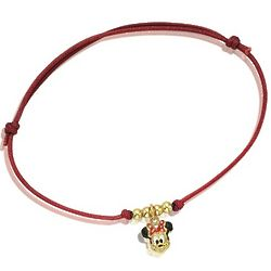 Enamel and 14k Gold Silk Cord Minnie Mouse Bracelet