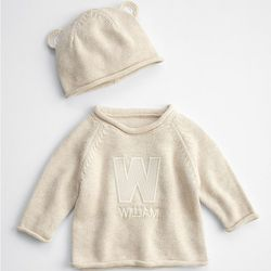 Bear Knit Baby Sweater with Hat
