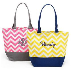 Personalized Chevron Canvas Tote