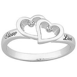 Personalized Platinum Plated Diamond Hearts Couple Ring