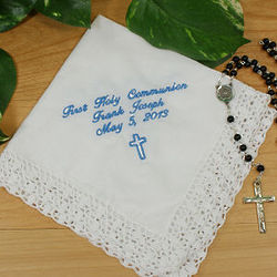 Personalized My First Communion Lace Border Handkercheif