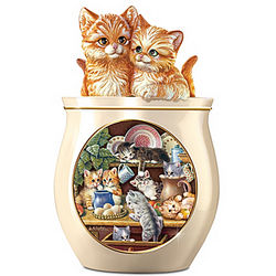 Kitten Art Porcelain Cookie Jar