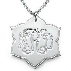Engraved Monogram Leaf-Shaped Pendant in Silver