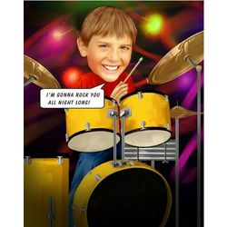 Beating the Drums Custom Caricature Art Print