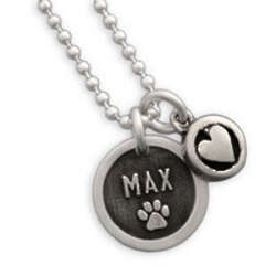 Personalized Etched Paw Disc Necklace