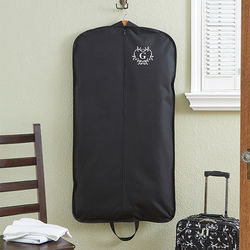 Embroidered Initial Damask Garment Bag