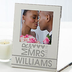 Personalized Mr. and Mrs. Silver-Plated Picture Frame