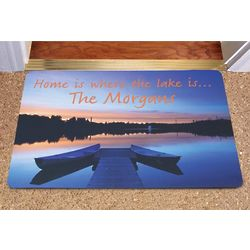 Home is Where the Lake is Personalized Doormat